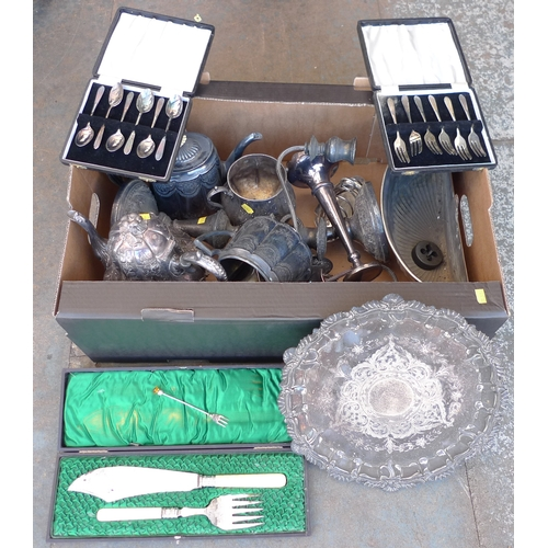 218 - A group of silver plated and metal items, including a three branch candelabra, toast rack, teapots, ...
