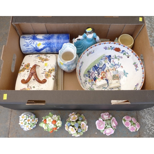 220 - A quantity of mixed ceramics, including a Royal Crown Derby 'Derby Posies' pattern part tea service,...