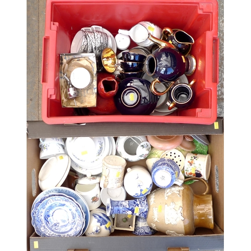 221 - A quantity of mixed china, including a Shelley part tea service, R2394, a harvest ware moulded jug, ...