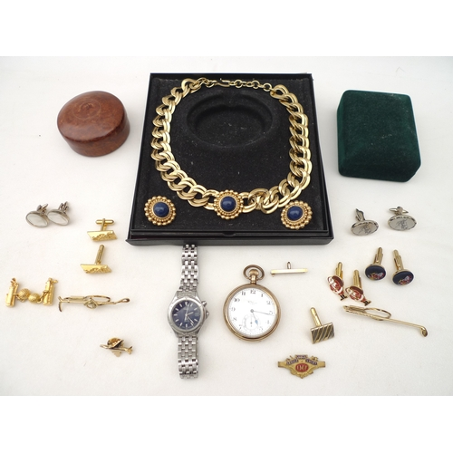 267 - A small group of costume jewellery and two watches, including a 9ct gold bar brooch with hook, 2.3g,...