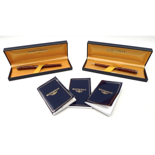 276 - A Waterman 'Ideal' fountain pen and pencil set with 18k nib, both in original cases with booklets an...