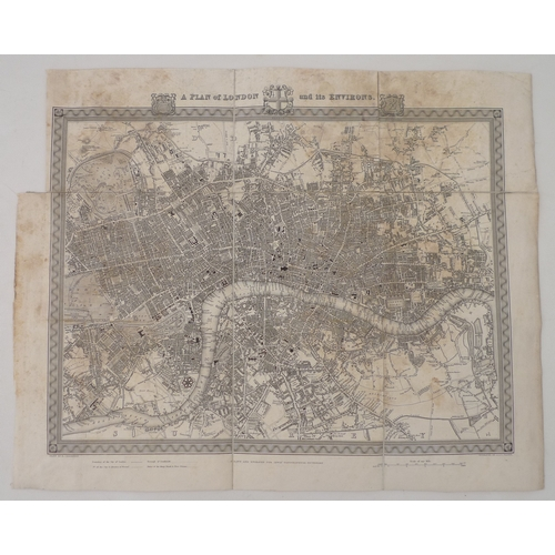299 - A Plan of London and its Environs, a 19th century engraved map, drawn by R. Creighton, engraved by J...