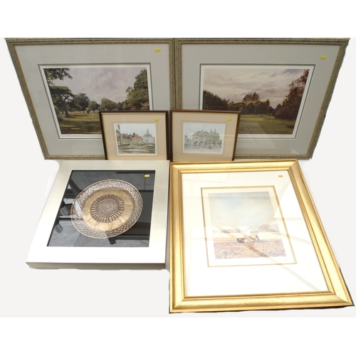 178 - A group of six framed pictures, 'The Dell', 'The Cedar at Dusk', two golfing prints, pencil signed b...