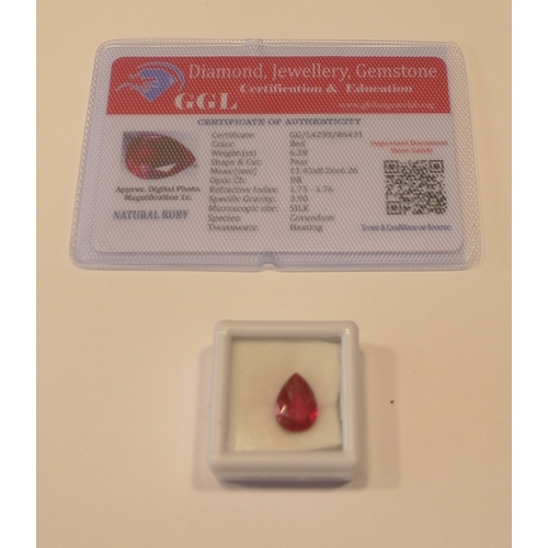 258 - Loose gems - A heat treated pear cut 6.28ct ruby, with GGL certificate....