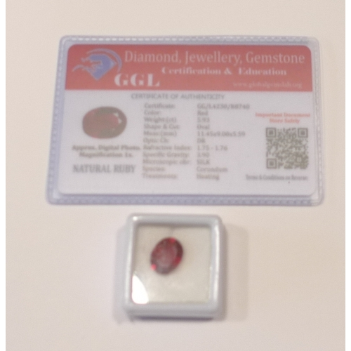 259 - Loose gems - A heat treated oval cut 5.93ct ruby, with GGL certificate....