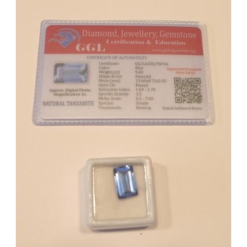 260 - Loose gems - A heat treated emerald cut 9.60ct tanzanite, with GGL certificate....