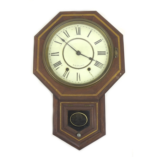208 - A Seth Thomas American drop dial wall clock, 35 by 12 by 55cm....