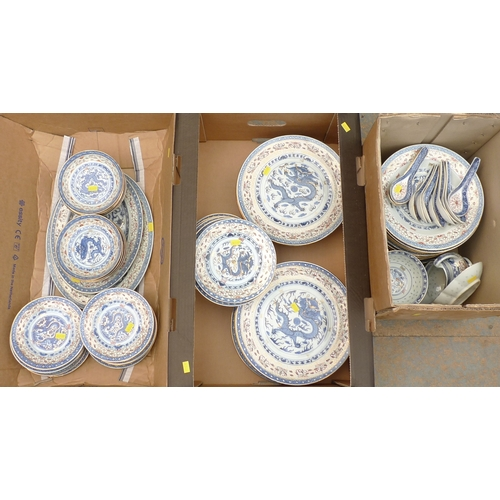 490 - An early to mid 20th century Chinese blue and white rice grain part dinner service, decorated with d...