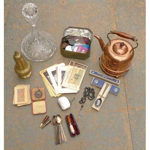 491 - A selection of collectables, including a ship's decanter, copper kettle, a George III 1797 cartwheel...