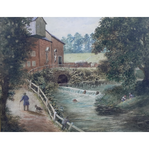 20 - Cornelius B. Durham RA (British, b. 1827): a pair of watercolours, the one a view of a working water...