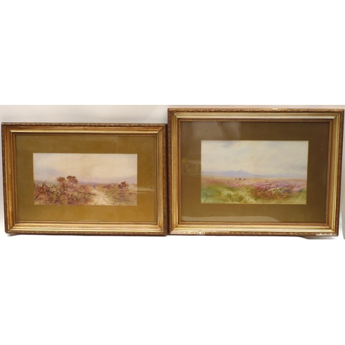 73 - G. Bate (British): two watercolour landscapes of West Country heather heathland, one with a walker a...
