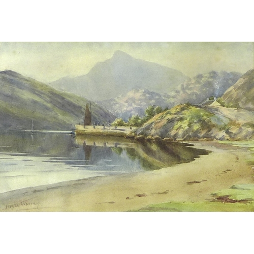 102 - Nesta Warren (British, exhibited 1909-1922): a Welsh mountainous landscape with a beach, quay and sa...