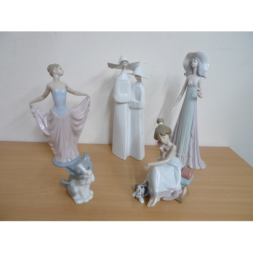 506 - A group of Lladro figurines, including Dancer Woman, Debutante and Chit Chat girl. (1 box)...