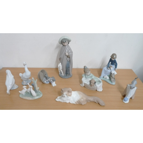 503 - A collection of Nao figurines, mainly animal figures. (1 box)...