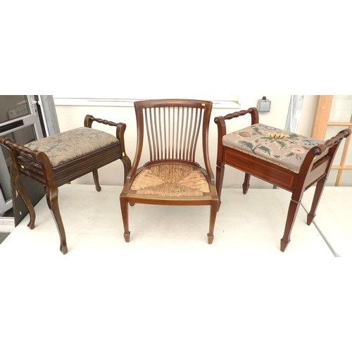 104 - An Edwardian mahogany and crossbanded piano stool, with embroidered seat and straight legs, together...