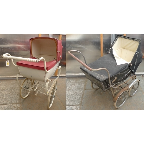 174 - A Vintage Silver Cross child's pram, white with red hood and cover, together with a full size Bargat...