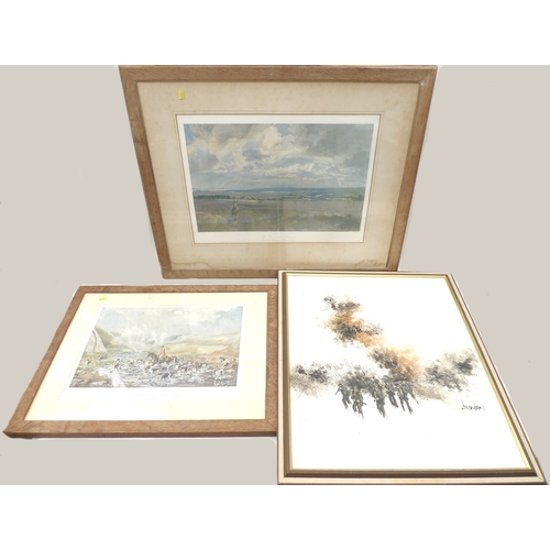 194 - A group of paintings, prints and maps, including a signed Lionel Edward print, and five floral botan...