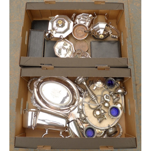 489 - A quantity of silver plated items, to include a Victorian four piece tea service, candelabra, variou...