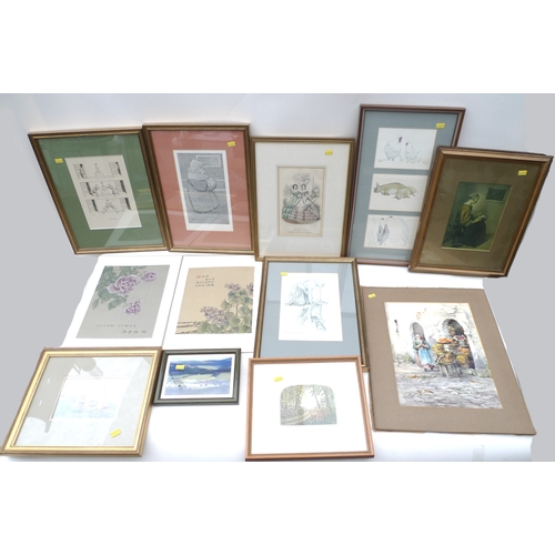 2 - A quantity of pictures, prints and paintings, including Chinese paintings on silk of flowers, an Ita...
