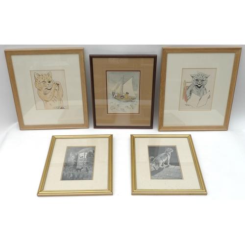 190 - A group of five Louis Wain cat prints. (5)...