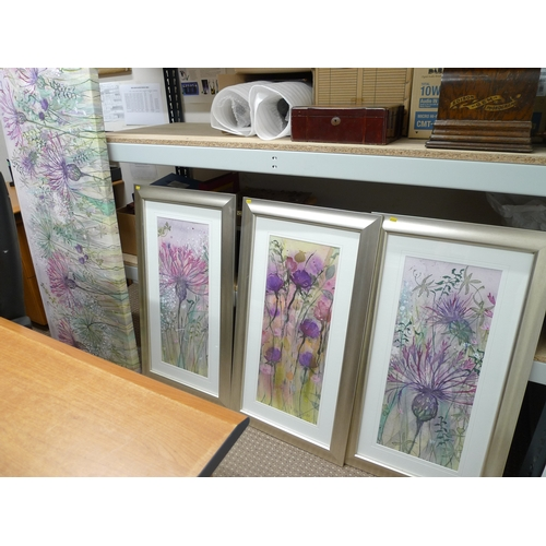515 - A group of prints, comprising of three silver framed floral prints and one floral picture on a large...