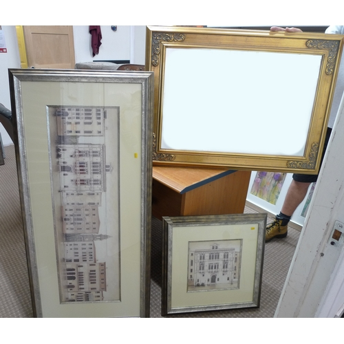 517 - Two framed and glazed architectural prints of Venice, together with a gilt framed mirror (3)...