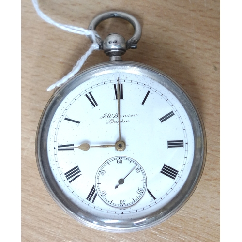49 - A Victorian silver J. W. Benson open faced pocket watch, white enamel dial with subsidiary seconds, ...