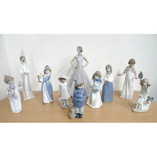 501 - A collection of Nao figurines, including a number of child figures. (1 box)...
