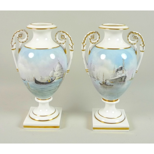 59 - A pair of modern Royal Worcester pedestal vases, twin foliate scrolled handles, one decorated with a...