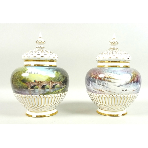 56 - A pair of modern Royal Worcester potpourri vases and pierced covers, decorated by M. Powell in 'Spri...
