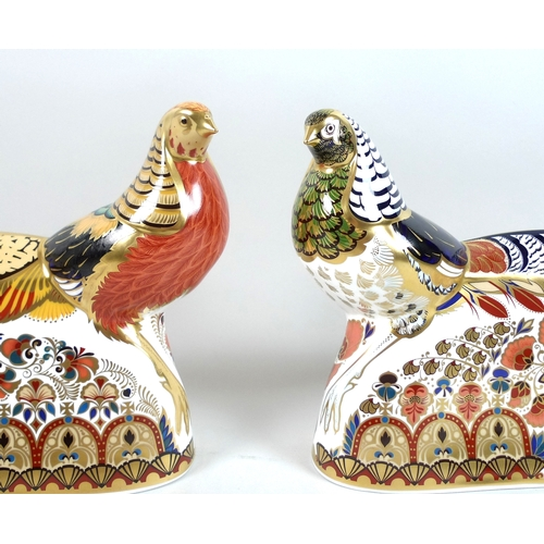 48 - A pair of modern Royal Crown Derby paperweights, modelled as 'Golden Pheasant' and 'Lady Amherst Phe...
