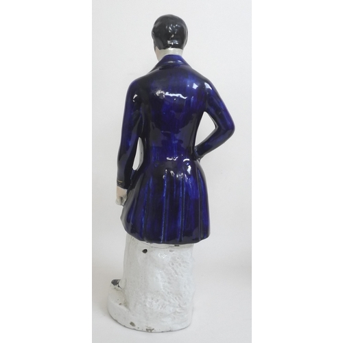 3 - Two large Victorian Staffordshire figurines, modelled as 'Wellington' and 'Louis Napoleon', 44cm and...