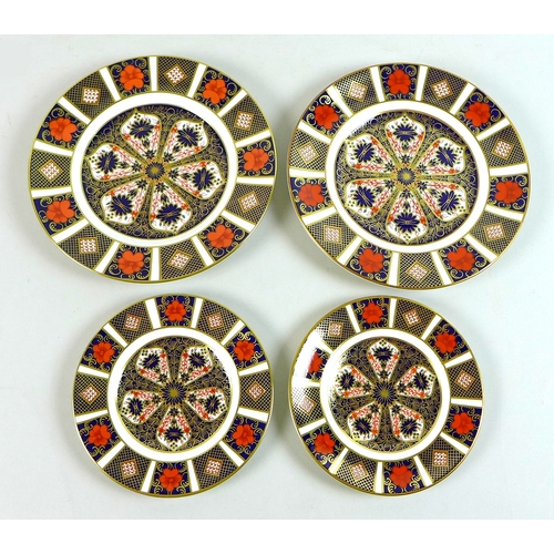 46 - A group of four Royal Crown Derby plates, decorated in Old Imari pattern, 1128, comprising a pair of...