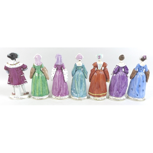 27 - A group of Sitzendorf figurines, modelled as King Henry VIII and his six wives, 20th century, each i...