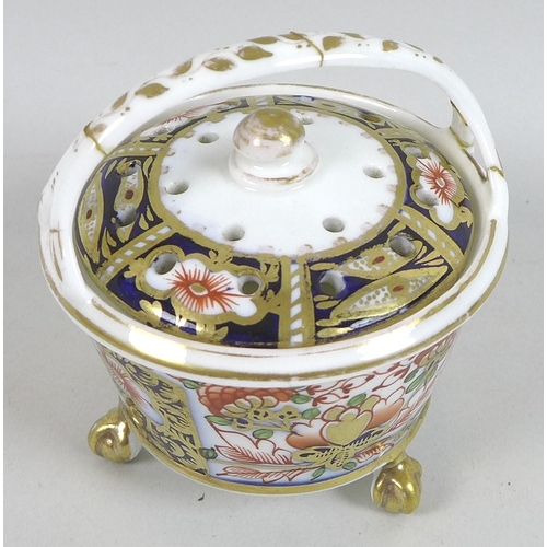 47 - A Royal Crown Derby bone china decorative bell, late Victorian, decorated in Imari style with iron r...
