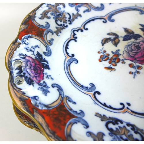 35 - A Wedgwood Pearlware part dessert service, circa 1800, decorated in the Camelia pattern, comprising ...
