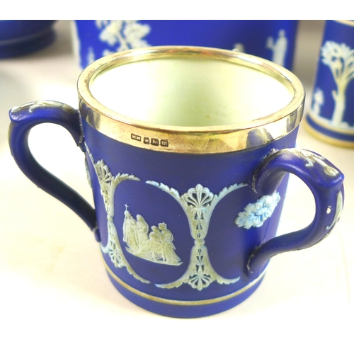 38 - A collection of 19th and 20th century Wedgwood Jasperware, comprising two jardineres, 21 by 19cm, a ...