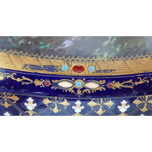 58 - A 19th century Sevres style porcelain oval dish, decorated with a central reserve depicting the batt...
