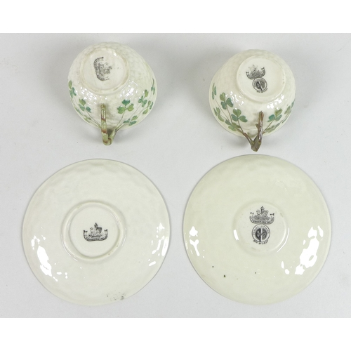 49 - A Belleek part tea set, second and third period black marks, early 20th century, decorated in the Sh...