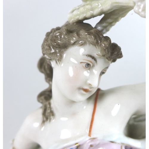 57 - A large 19th century porcelain figurine, emblematic of Summer, modelled as a lady in a pink dress fl...