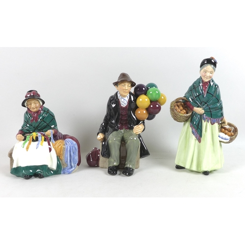 30 - A group of Royal Doulton figurines, comprising The Orange Lady, HN1953, Silks and Ribbons, HN2017 an...