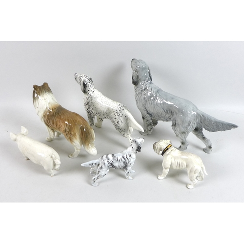2 - A group of Beswick and Royal Doulton figurines, comprising a Beswick pig 'Ch Wall Ch Boy 53', a Besw...