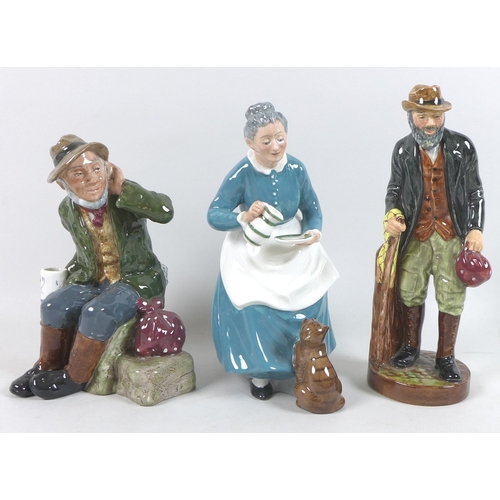 33 - A group of Royal Doulton figurines, comprising the Favorite, HN2249, The Gaffer, HN2053, Old Willum,...