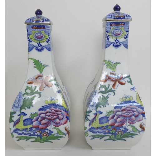 10 - A pair of Mason's Ironstone vases, of four sided baluster form, transfer printed and overpainted wit...