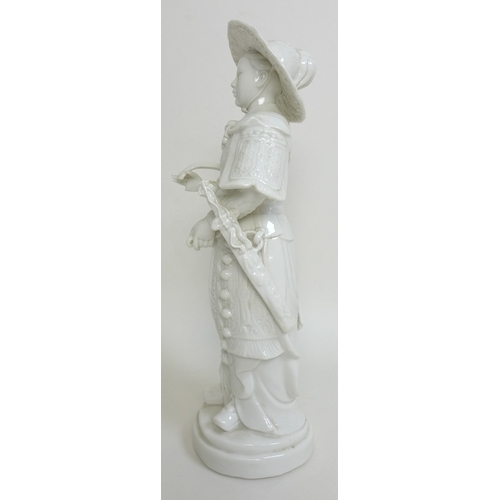 14 - A modern Chinese blanc de chine figure, modelled as a young warrior with sword, straw hat, and bow a...
