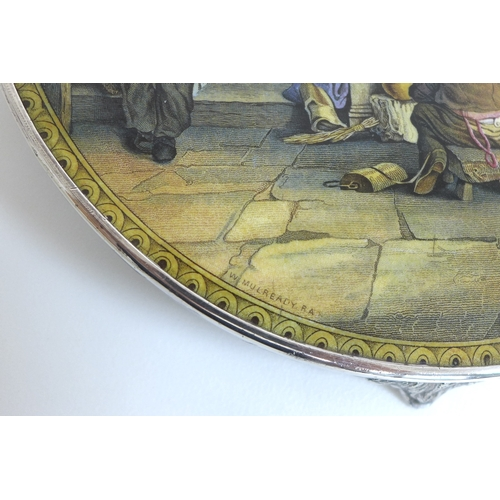 31 - A Staffordshire teapot stand, 'The Last In', by W. Mulready, RA, with EPNS rim and three foliate cas...
