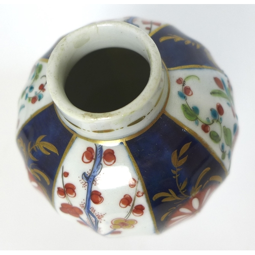 55 - A Worcester, First Period, small porcelain vase and cover, circa 1770, decorated in Imari style with...