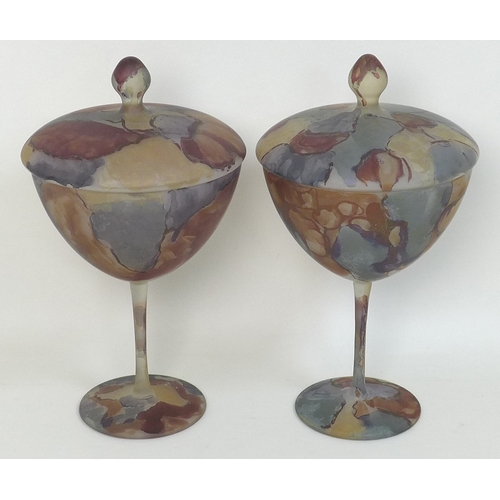22 - A pair of large goblets and covers, mid 20th century, decorated in the style of Galle with mottled c...