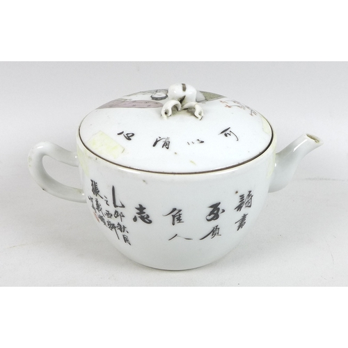 17 - A collection of Chinese porcelain, including three Chinese Republic era tea pots, each painted with ...