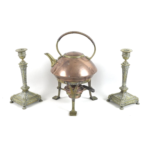 78 - A pair of 19th century brass candlesticks, in Classical Revival style, with removable drip trays, ra...